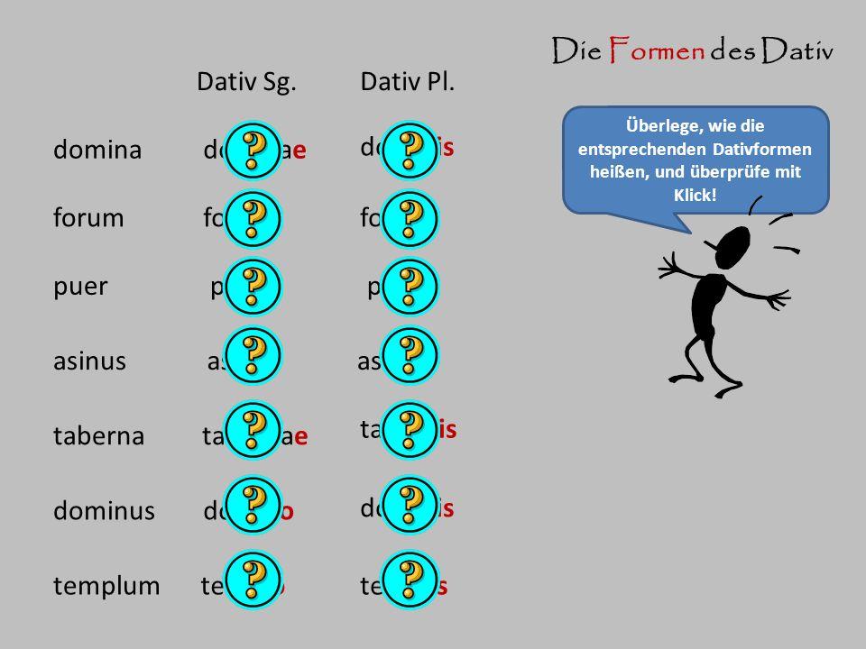 Die Formen des Dativ Überlege, wie die entsprechenden Dativformen heißen, und überprüfe mit Klick! domina Dativ Sg.Dativ Pl. dominae dominis forum pue