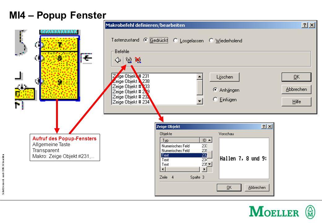Schutzvermerk nach DIN 34 beachten MI4 – Popup Fenster Aufruf des Popup-Fensters Allgemeine Taste Transparent Makro: Zeige Objekt #231,...