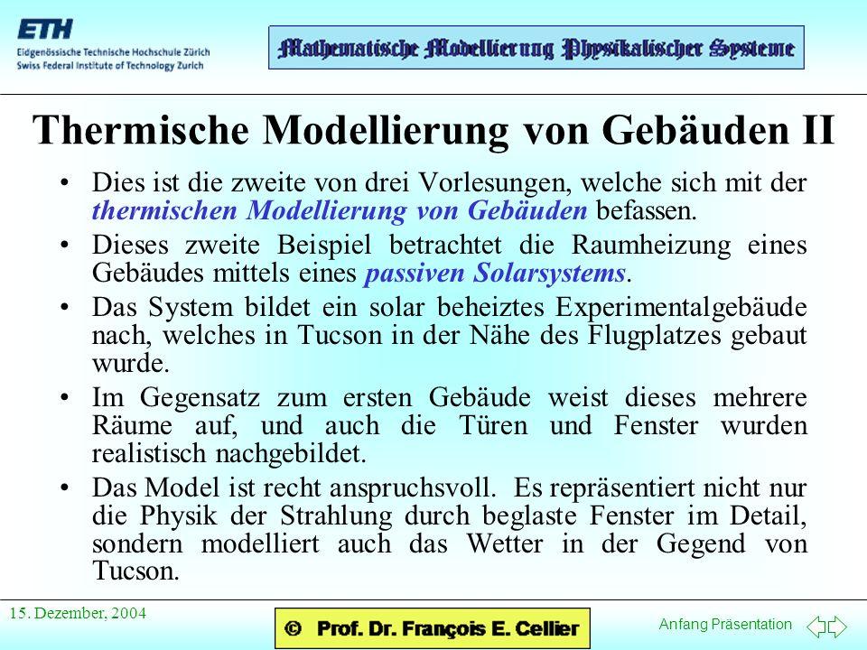 Anfang Präsentation 15. Dezember, 2004 Thermische Modellierung von Gebäuden II Dies ist die zweite von drei Vorlesungen, welche sich mit der thermisch