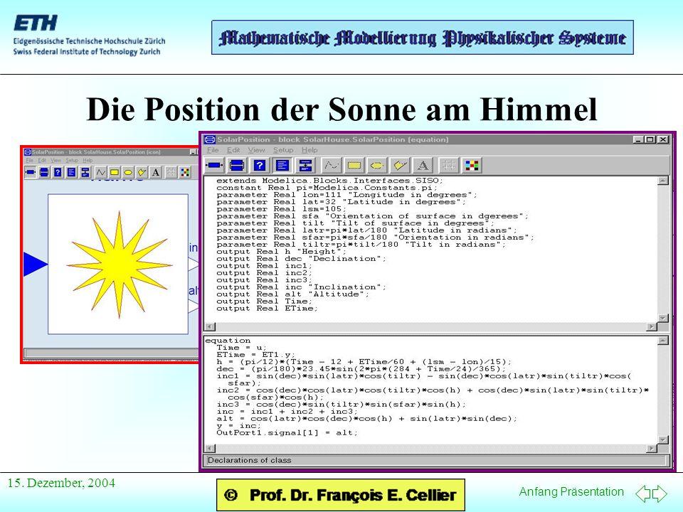 Anfang Präsentation 15. Dezember, 2004 Die Position der Sonne am Himmel