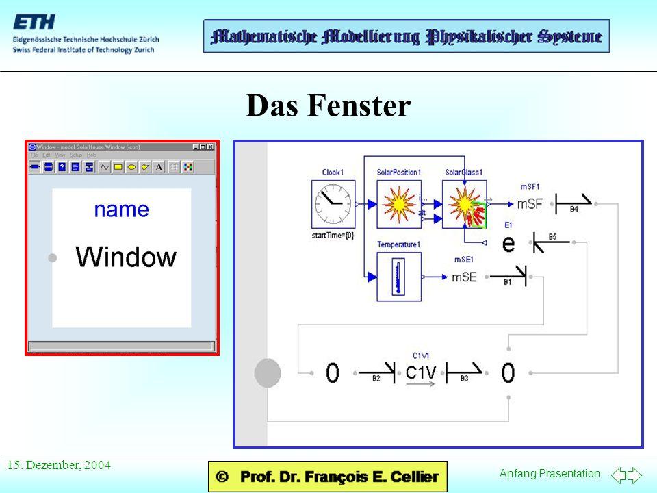 Anfang Präsentation 15. Dezember, 2004 Das Fenster