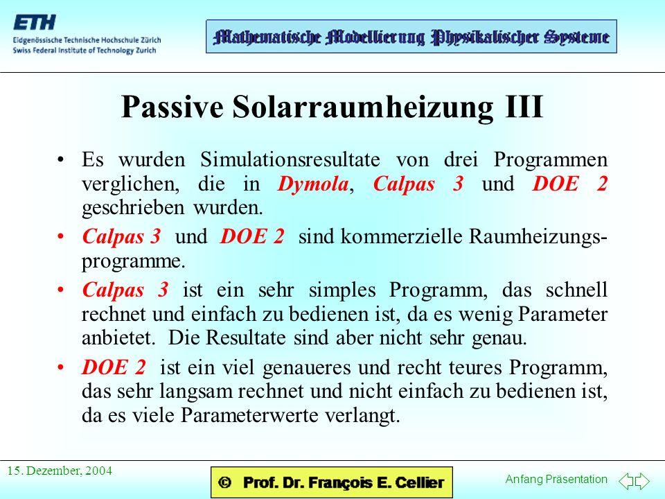 Anfang Präsentation 15. Dezember, 2004 Passive Solarraumheizung III Es wurden Simulationsresultate von drei Programmen verglichen, die in Dymola, Calp