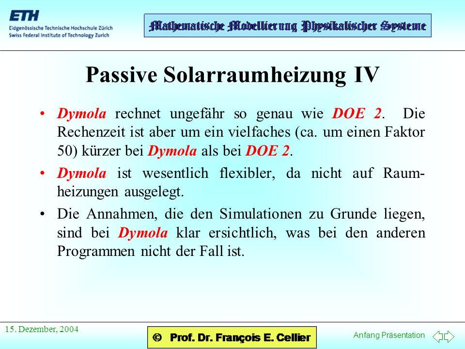 Anfang Präsentation 15. Dezember, 2004 Passive Solarraumheizung IV Dymola rechnet ungefähr so genau wie DOE 2. Die Rechenzeit ist aber um ein vielfach