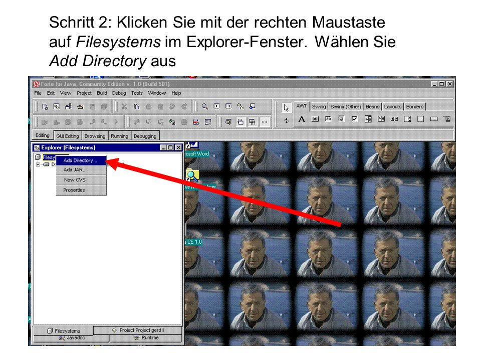 Schritt 2: Klicken Sie mit der rechten Maustaste auf Filesystems im Explorer-Fenster. Wählen Sie Add Directory aus