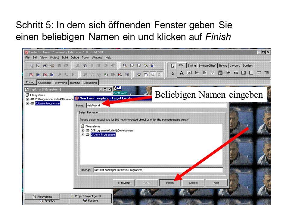 Beliebigen Namen eingeben Schritt 5: In dem sich öffnenden Fenster geben Sie einen beliebigen Namen ein und klicken auf Finish