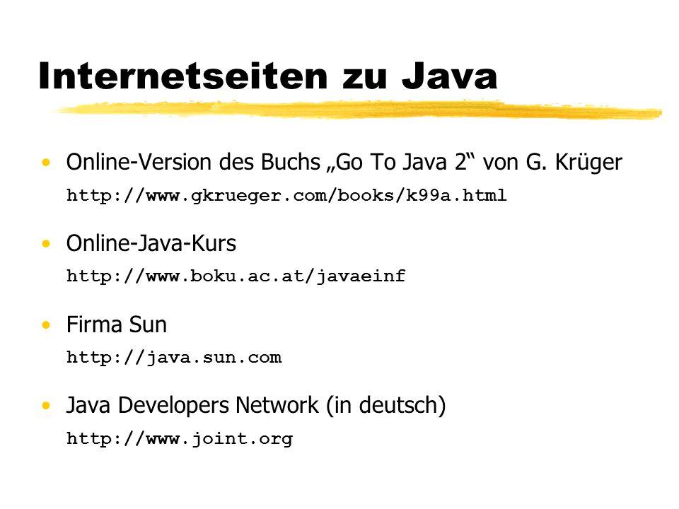 Werkzeuge Java Developer Kit JDK 1.1.3 Erstellen des Programms: beliebiger Editor Java-Compiler javac Java-Interpreter java Ausprobieren von Java-Applets appletviewer Programmierumgebung (Forte 4i)