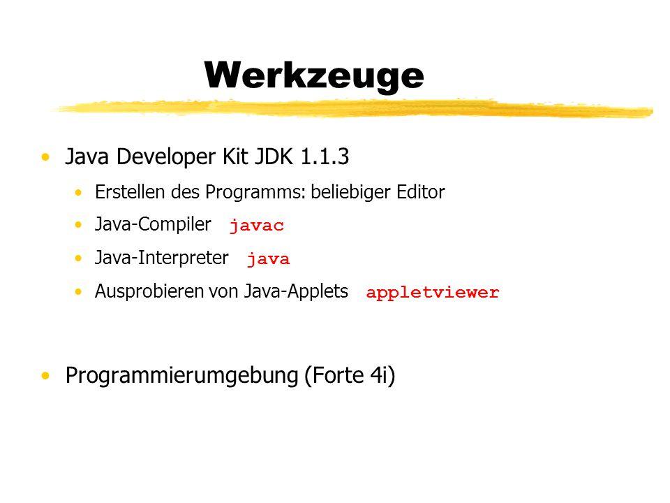 Werkzeuge Java Developer Kit JDK 1.1.3 Erstellen des Programms: beliebiger Editor Java-Compiler javac Java-Interpreter java Ausprobieren von Java-Appl