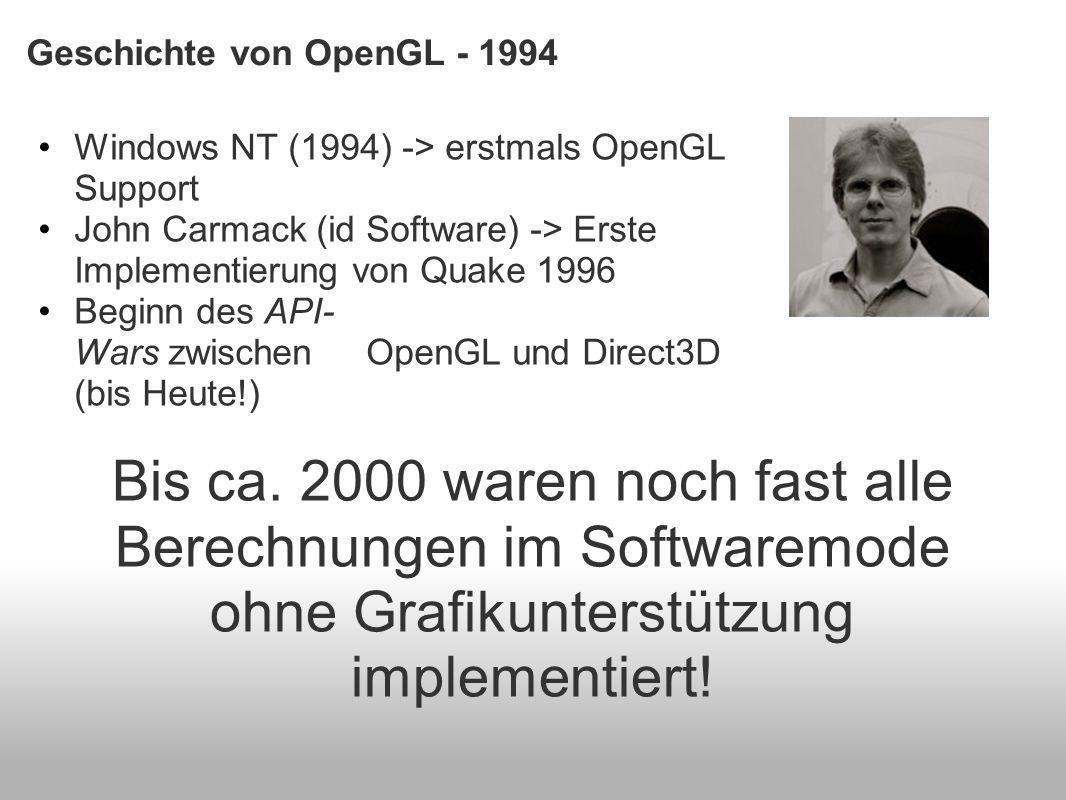 Geschichte von OpenGL - 1994 Windows NT (1994) -> erstmals OpenGL Support John Carmack (id Software) -> Erste Implementierung von Quake 1996 Beginn des API- Wars zwischen OpenGL und Direct3D (bis Heute!) Bis ca.