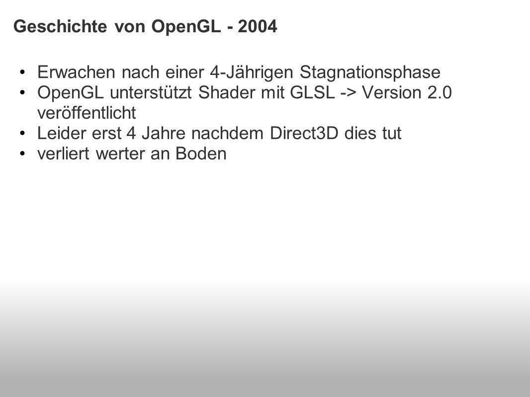 Geschichte von OpenGL - 2004 Erwachen nach einer 4-Jährigen Stagnationsphase OpenGL unterstützt Shader mit GLSL -> Version 2.0 veröffentlicht Leider erst 4 Jahre nachdem Direct3D dies tut verliert werter an Boden