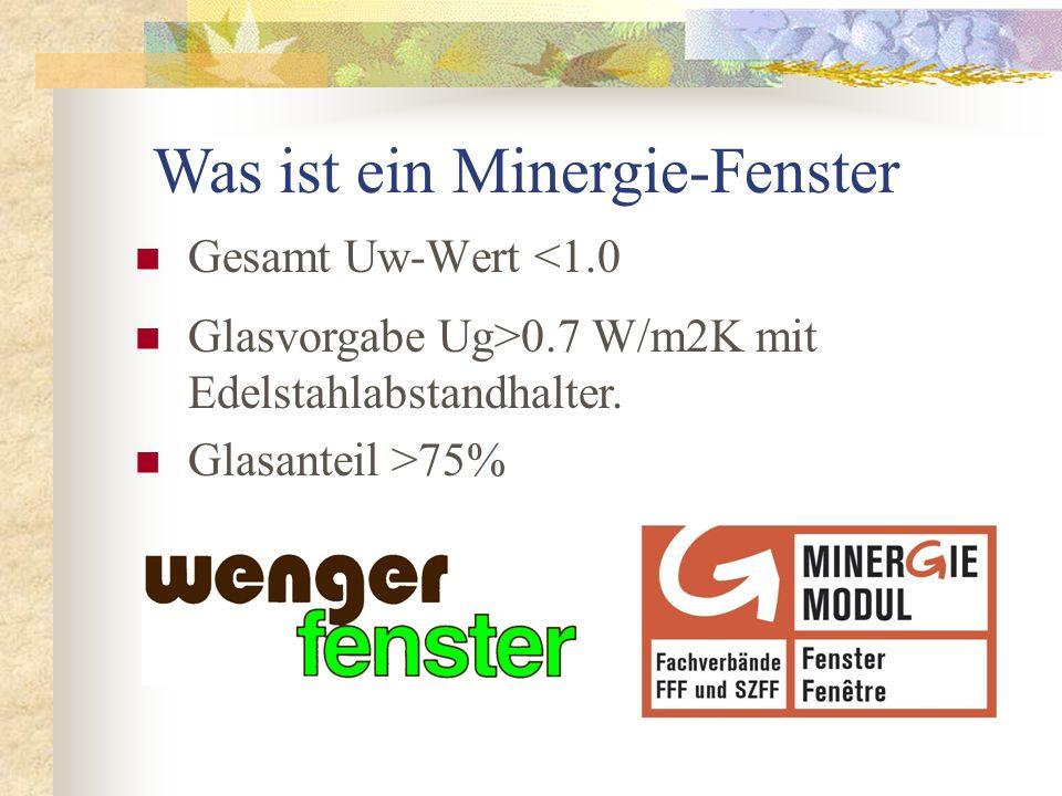 Gesamt Uw-Wert <1.0 Glasvorgabe Ug>0.7 W/m2K mit Edelstahlabstandhalter. Glasanteil >75% Was ist ein Minergie-Fenster
