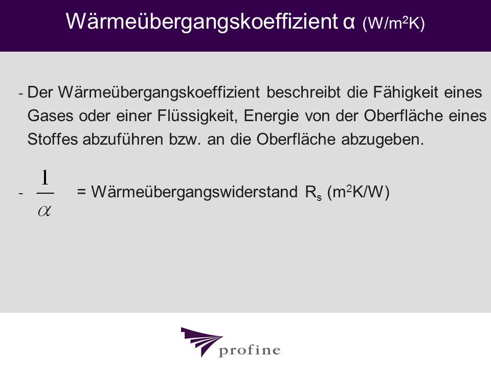 Wärmeübergangskoeffizient α (W/m 2 K) - Der Wärmeübergangskoeffizient beschreibt die Fähigkeit eines Gases oder einer Flüssigkeit, Energie von der Obe