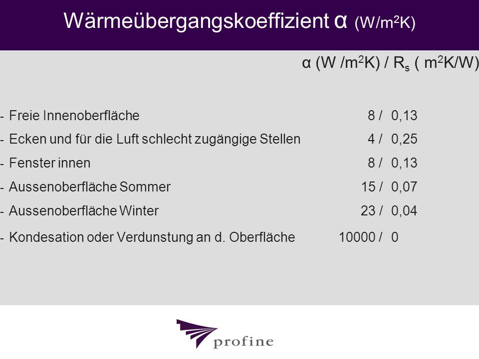 Wärmeübergangskoeffizient α (W/m 2 K) α (W /m 2 K) / R s ( m 2 K/W) - Freie Innenoberfläche 8 / 0,13 - Ecken und für die Luft schlecht zugängige Stell