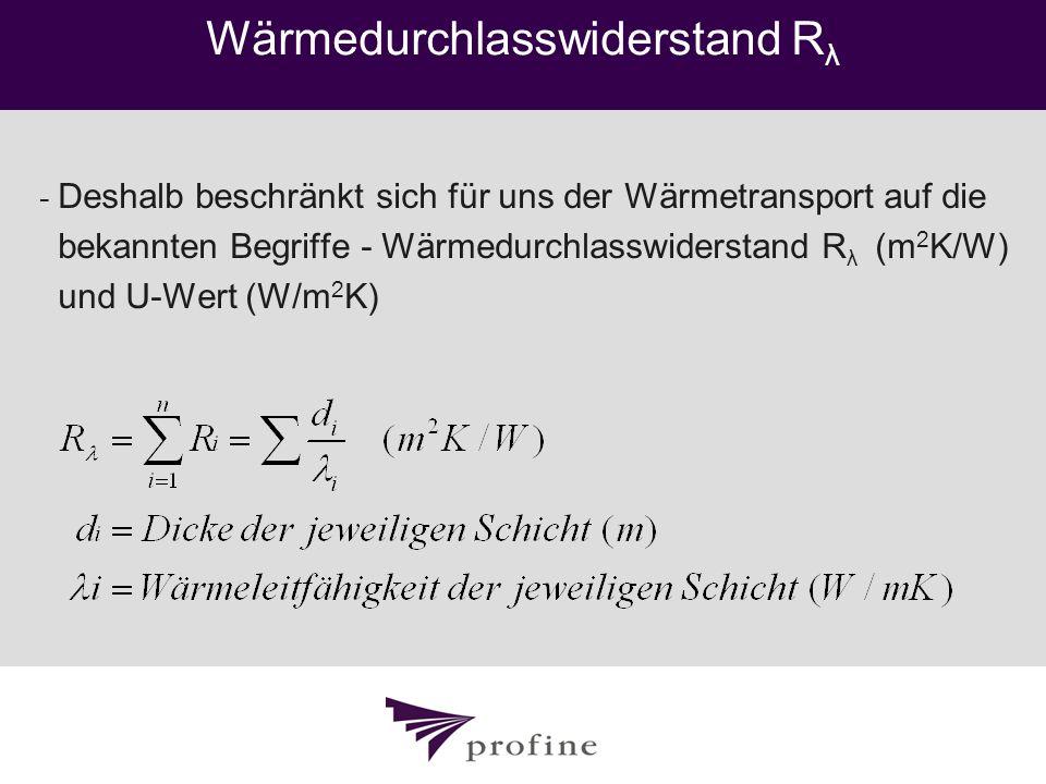 Wärmedurchlasswiderstand R λ - Deshalb beschränkt sich für uns der Wärmetransport auf die bekannten Begriffe - Wärmedurchlasswiderstand R λ (m 2 K/W)
