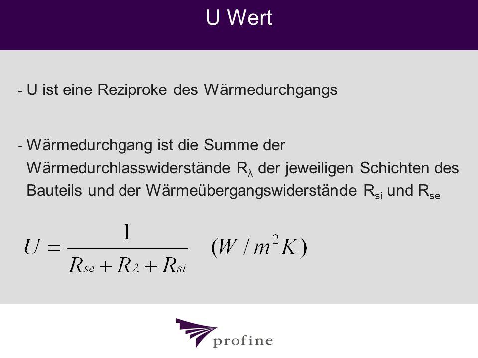 U Wert - U ist eine Reziproke des Wärmedurchgangs - Wärmedurchgang ist die Summe der Wärmedurchlasswiderstände R λ der jeweiligen Schichten des Bautei