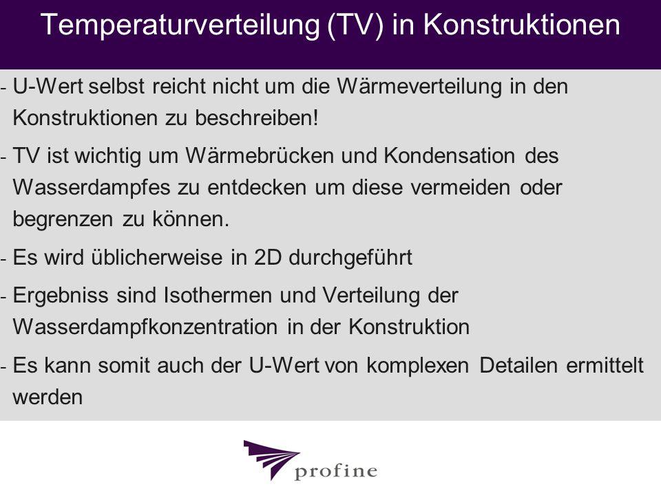 Temperaturverteilung (TV) in Konstruktionen - U-Wert selbst reicht nicht um die Wärmeverteilung in den Konstruktionen zu beschreiben! - TV ist wichtig