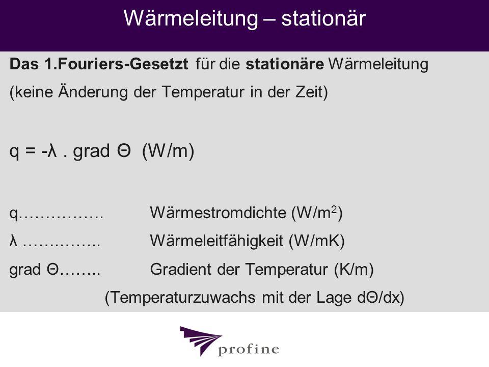 Wärmeleitung – stationär Das 1.Fouriers-Gesetzt für die stationäre Wärmeleitung (keine Änderung der Temperatur in der Zeit) q = -λ. grad Θ (W/m) q…………