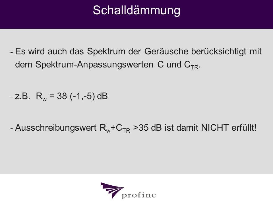 Schalldämmung - Es wird auch das Spektrum der Geräusche berücksichtigt mit dem Spektrum-Anpassungswerten C und C TR. - z.B. R w = 38 (-1,-5) dB - Auss