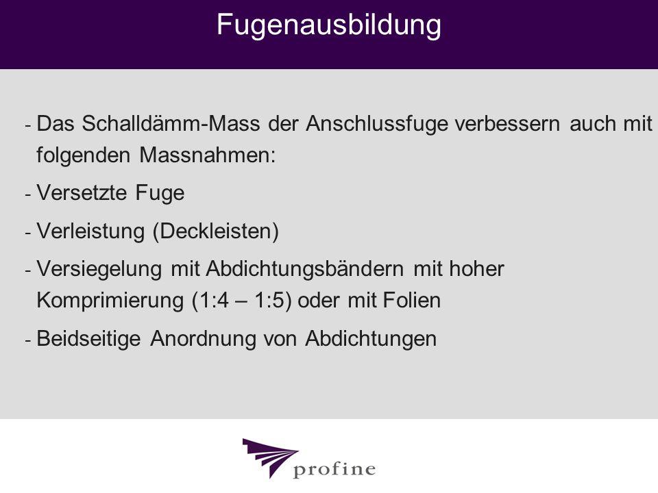 Fugenausbildung - Das Schalldämm-Mass der Anschlussfuge verbessern auch mit folgenden Massnahmen: - Versetzte Fuge - Verleistung (Deckleisten) - Versi