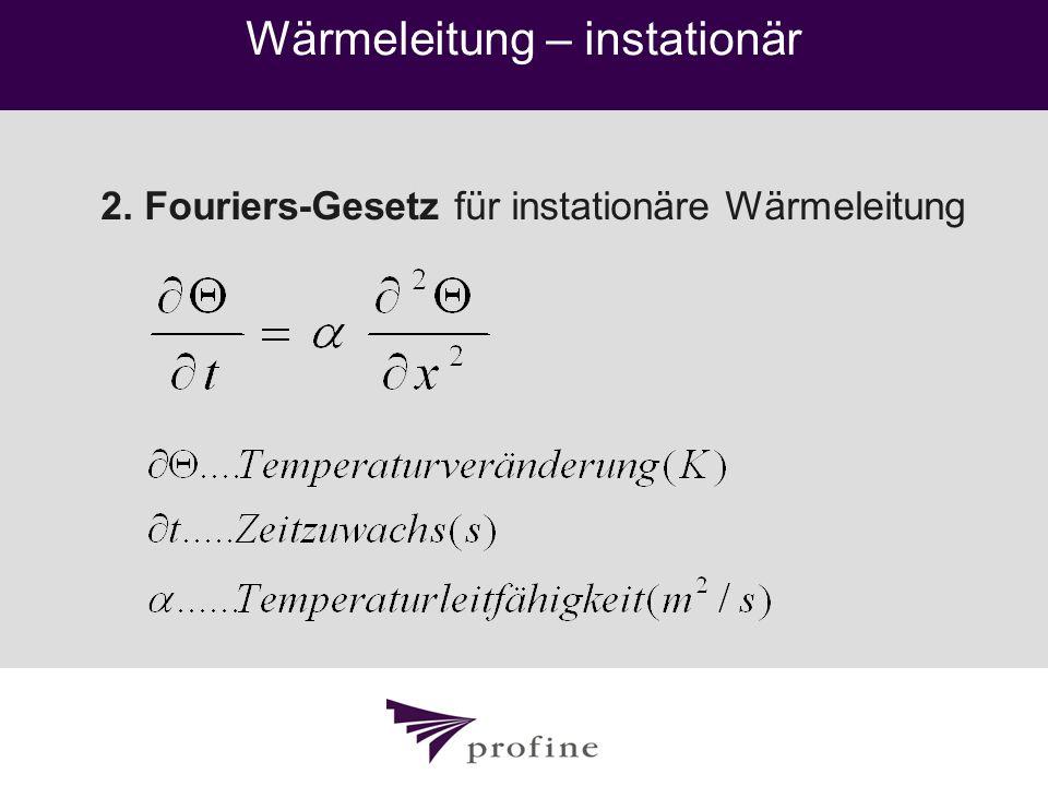 Wärmeleitung – instationär 2. Fouriers-Gesetz für instationäre Wärmeleitung