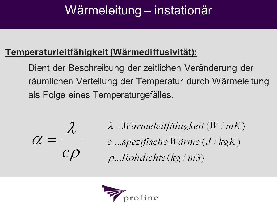 Wärmeleitung – instationär Temperaturleitfähigkeit (Wärmediffusivität): Dient der Beschreibung der zeitlichen Veränderung der räumlichen Verteilung de