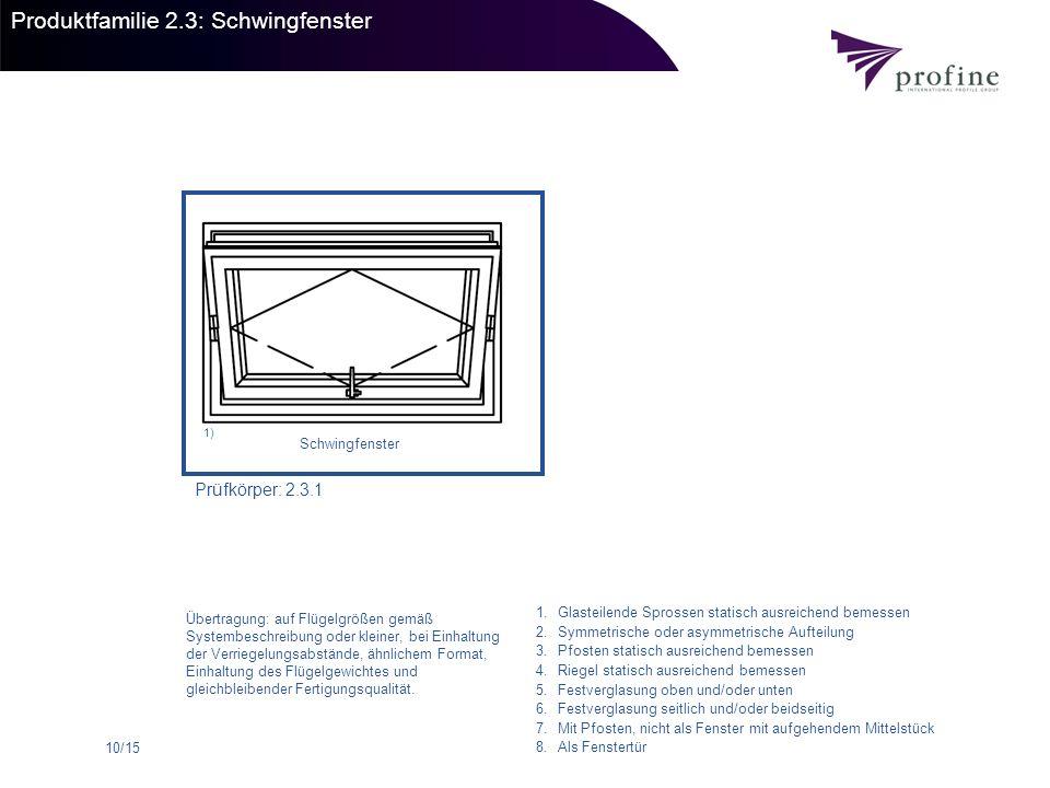 10/15 Produktfamilie 2.3: Schwingfenster Prüfkörper: 2.3.1 Schwingfenster 1) 1.Glasteilende Sprossen statisch ausreichend bemessen 2.Symmetrische oder
