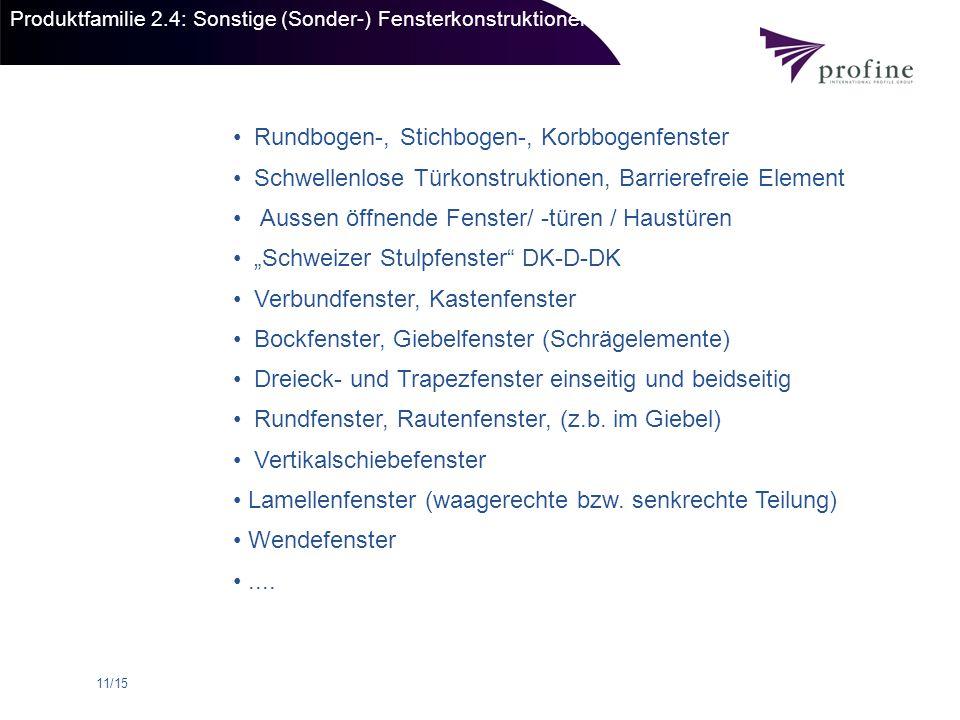 11/15 Produktfamilie 2.4: Sonstige (Sonder-) Fensterkonstruktionen Rundbogen-, Stichbogen-, Korbbogenfenster Schwellenlose Türkonstruktionen, Barriere