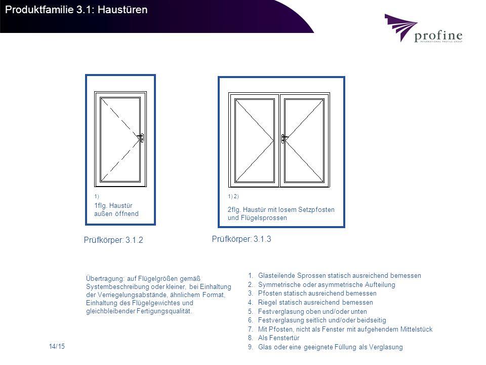 14/15 Produktfamilie 3.1: Haustüren 1flg. Haustür außen öffnend Prüfkörper: 3.1.2 Prüfkörper: 3.1.3 2flg. Haustür mit losem Setzpfosten und Flügelspro