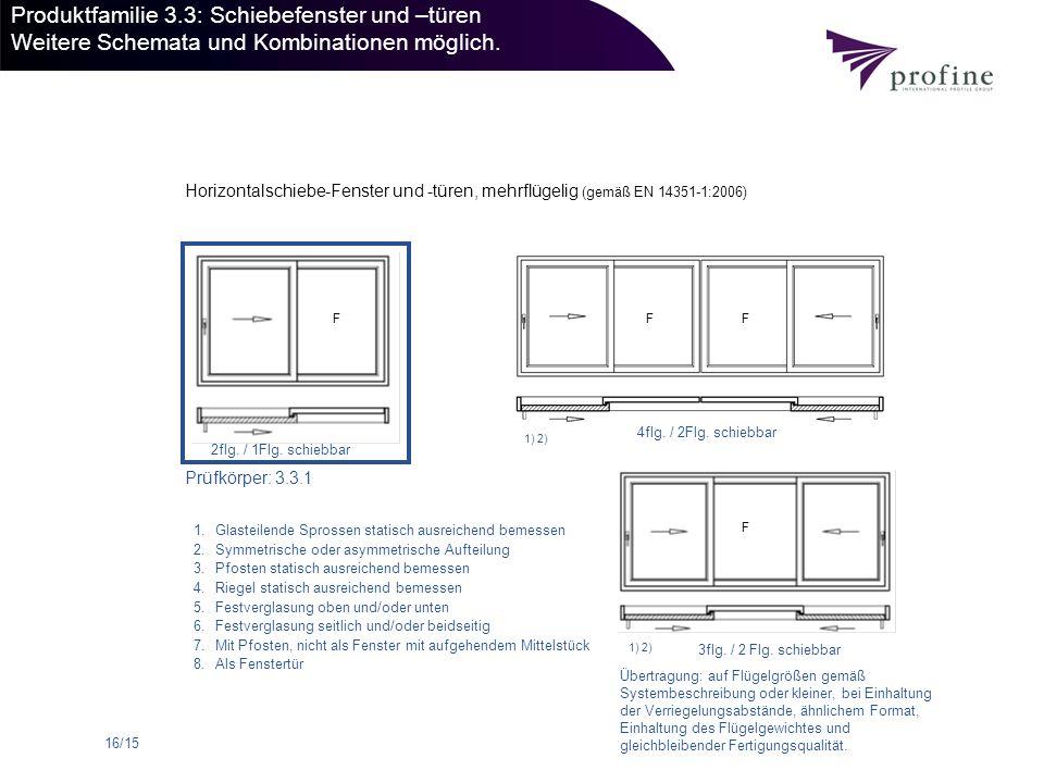 16/15 Produktfamilie 3.3: Schiebefenster und –türen Weitere Schemata und Kombinationen möglich. Prüfkörper: 3.3.1 2flg. / 1Flg. schiebbar 3flg. / 2 Fl