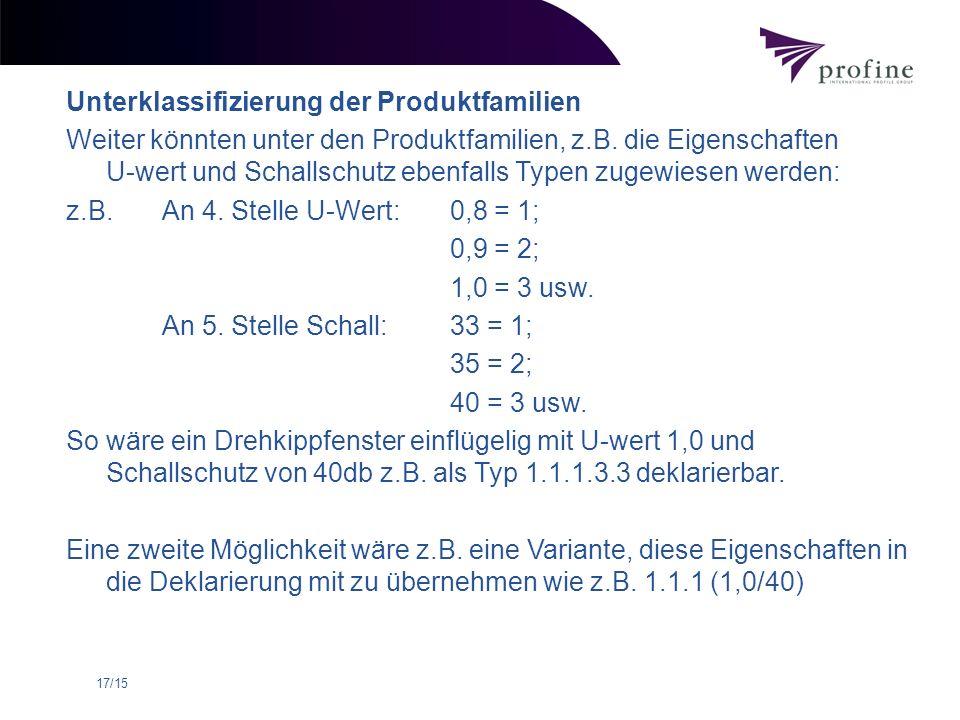 17/15 Unterklassifizierung der Produktfamilien Weiter könnten unter den Produktfamilien, z.B. die Eigenschaften U-wert und Schallschutz ebenfalls Type