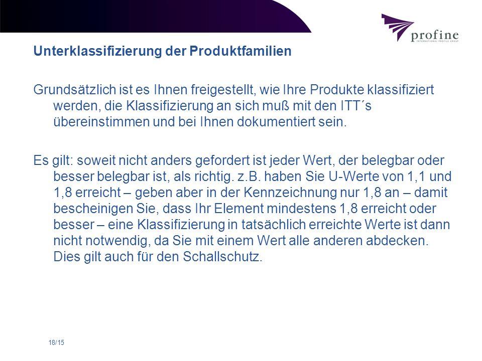 18/15 Unterklassifizierung der Produktfamilien Grundsätzlich ist es Ihnen freigestellt, wie Ihre Produkte klassifiziert werden, die Klassifizierung an