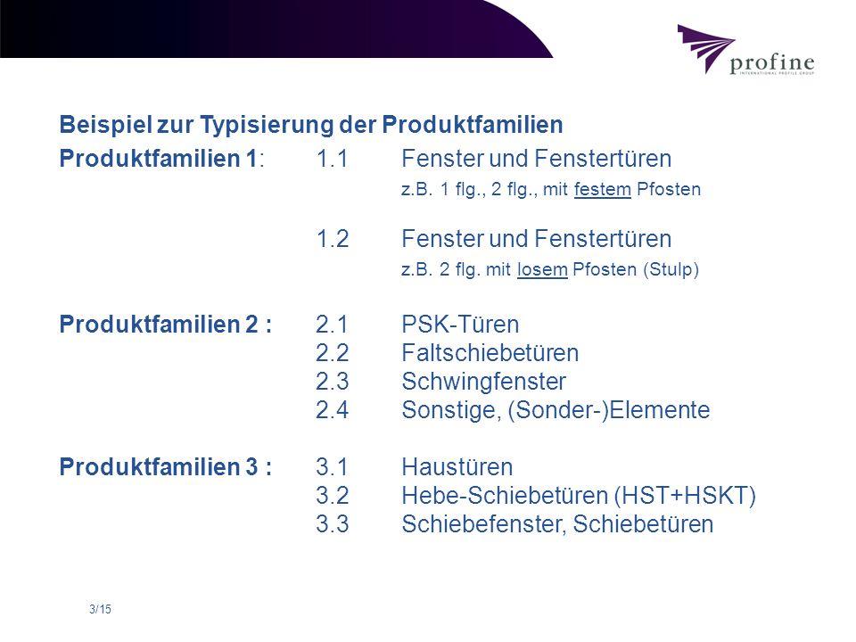 3/15 Beispiel zur Typisierung der Produktfamilien Produktfamilien 1:1.1 Fenster und Fenstertüren z.B. 1 flg., 2 flg., mit festem Pfosten 1.2 Fenster u