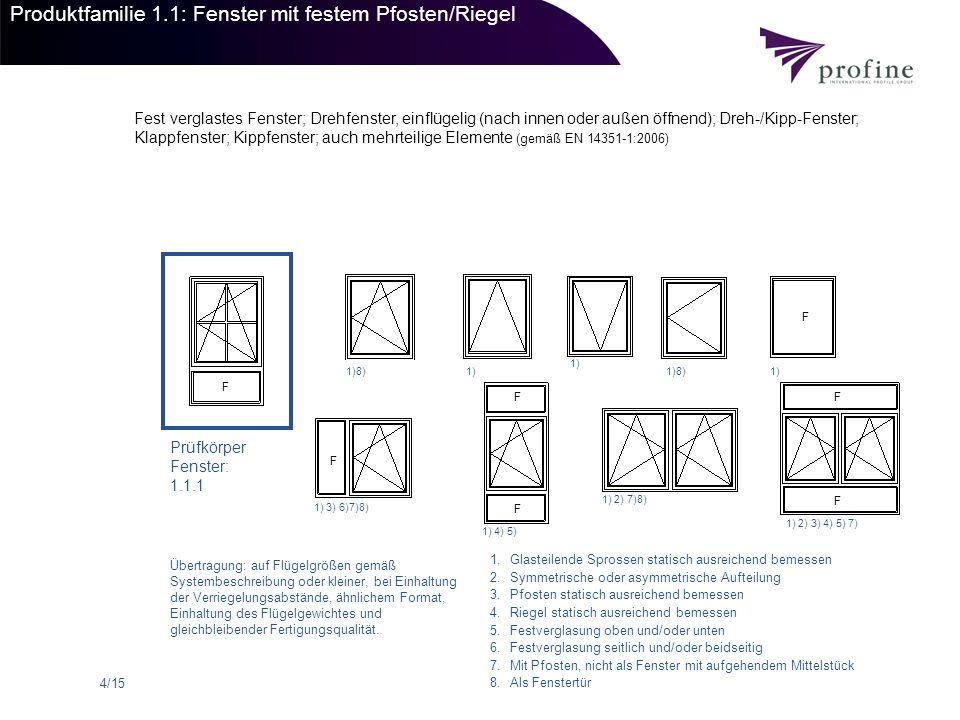 5/15 Produktfamilie 1.1: Fenstertüren mit festem Pfosten/Riegel Fest verglastes Fenster; Drehfenster, einflügelig (nach innen oder außen öffnend); Dreh-/Kipp-Fenster; Klappfenster; Kippfenster; auch mehrteilige Elemente (gemäß EN 14351-1:2006) Prüfkörper Fenstertür 1.1.2 1)1)8) 1) 2) 8) 1) 2) 3) 4) 7) 8) 1) 4)8) 1.Glasteilende Sprossen statisch ausreichend bemessen 2.Symmetrische oder asymmetrische Aufteilung 3.Pfosten statisch ausreichend bemessen 4.Riegel statisch ausreichend bemessen 5.Festverglasung oben und/oder unten 6.Festverglasung seitlich und/oder beidseitig 7.Mit Pfosten, nicht als Fenster mit aufgehendem Mittelstück 8.Als Fenstertür Übertragung: auf Flügelgrößen gemäß Systembeschreibung oder kleiner, bei Einhaltung der Verriegelungsabstände, ähnlichem Format, Einhaltung des Flügelgewichtes und gleichbleibender Fertigungsqualität.