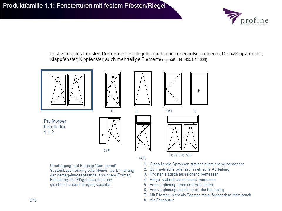 6/15 Produktfamilie 1.2: Fenster / -türen mit Stulp Drehfenster und -türen, zwei- oder mehrflügelig (nach innen oder außen öffnend),Dreh-Kippfenster und -fenstertüren, auch mehrteilig (gemäß EN 14351-1:2006) Prüfkörper 1.2.1 1) 2) 8) 1) 2) 4) 5) 1) 2) 3) 6) 1.Glasteilende Sprossen statisch ausreichend bemessen 2.Symmetrische oder asymmetrische Aufteilung 3.Pfosten statisch ausreichend bemessen 4.Riegel statisch ausreichend bemessen 5.Festverglasung oben und/oder unten 6.Festverglasung seitlich und/oder beidseitig 7.Mit Pfosten, nicht als Fenster mit aufgehendem Mittelstück 8.Als Fenstertür Übertragung: auf Flügelgrößen gemäß Systembeschreibung oder kleiner, bei Einhaltung der Verriegelungsabstände, ähnlichem Format, Einhaltung des Flügelgewichtes und gleichbleibender Fertigungsqualität.