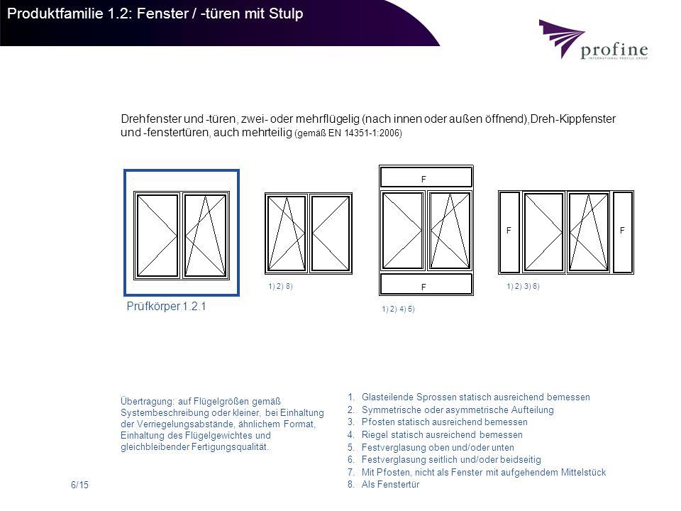 6/15 Produktfamilie 1.2: Fenster / -türen mit Stulp Drehfenster und -türen, zwei- oder mehrflügelig (nach innen oder außen öffnend),Dreh-Kippfenster u