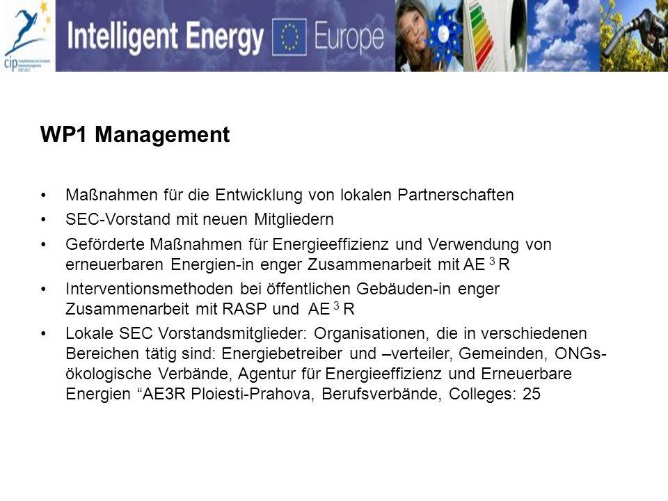 WP1 Management Maßnahmen für die Entwicklung von lokalen Partnerschaften SEC-Vorstand mit neuen Mitgliedern Geförderte Maßnahmen für Energieeffizienz und Verwendung von erneuerbaren Energien-in enger Zusammenarbeit mit AE 3 R Interventionsmethoden bei öffentlichen Gebäuden-in enger Zusammenarbeit mit RASP und AE 3 R Lokale SEC Vorstandsmitglieder: Organisationen, die in verschiedenen Bereichen tätig sind: Energiebetreiber und –verteiler, Gemeinden, ONGs- ökologische Verbände, Agentur für Energieeffizienz und Erneuerbare Energien AE3R Ploiesti-Prahova, Berufsverbände, Colleges: 25