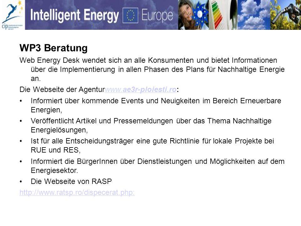 WP3 Beratung Web Energy Desk wendet sich an alle Konsumenten und bietet Informationen über die Implementierung in allen Phasen des Plans für Nachhalti