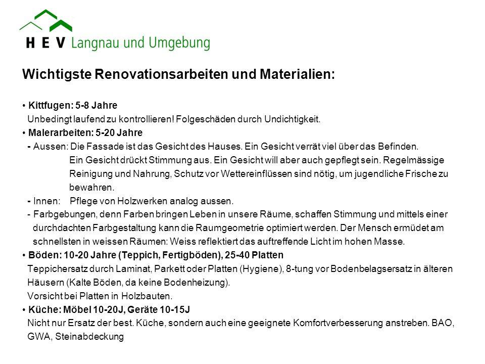 Wichtigste Renovationsarbeiten und Materialien: Kittfugen: 5-8 Jahre Unbedingt laufend zu kontrollieren! Folgeschäden durch Undichtigkeit. Malerarbeit