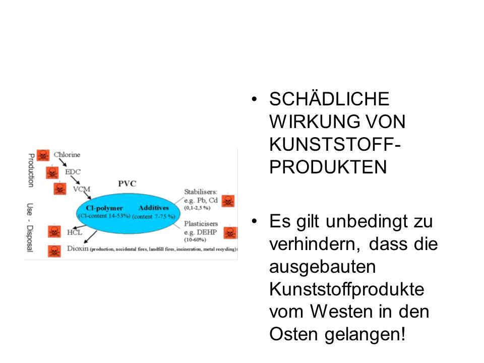 SCHÄDLICHE WIRKUNG VON KUNSTSTOFF- PRODUKTEN Es gilt unbedingt zu verhindern, dass die ausgebauten Kunststoffprodukte vom Westen in den Osten gelangen!