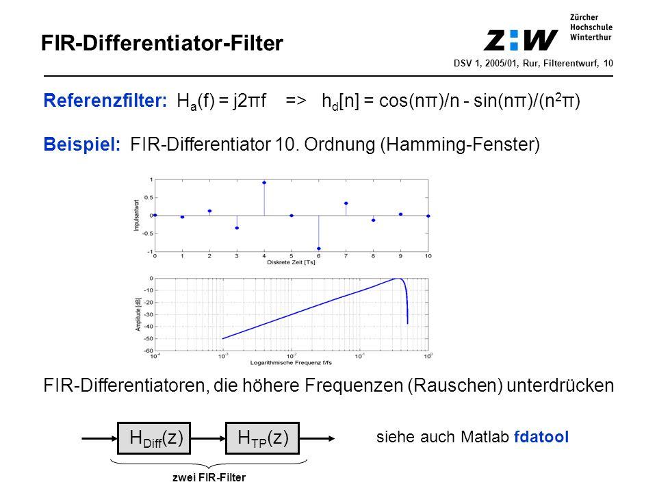 DSV 1, 2005/01, Rur, Filterentwurf, 10 FIR-Differentiator-Filter Referenzfilter: H a (f) = j2πf => h d [n] = cos(nπ)/n - sin(nπ)/(n 2 π) Beispiel: FIR