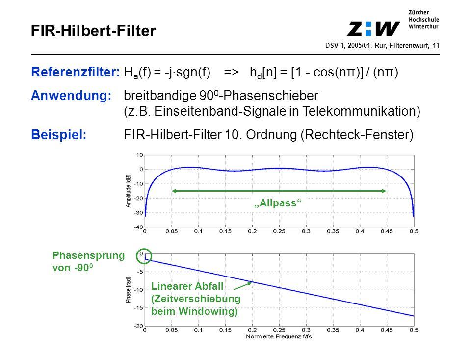 DSV 1, 2005/01, Rur, Filterentwurf, 11 FIR-Hilbert-Filter Referenzfilter: H a (f) = -j·sgn(f) => h d [n] = [1 - cos(nπ)] / (nπ) Anwendung: breitbandig
