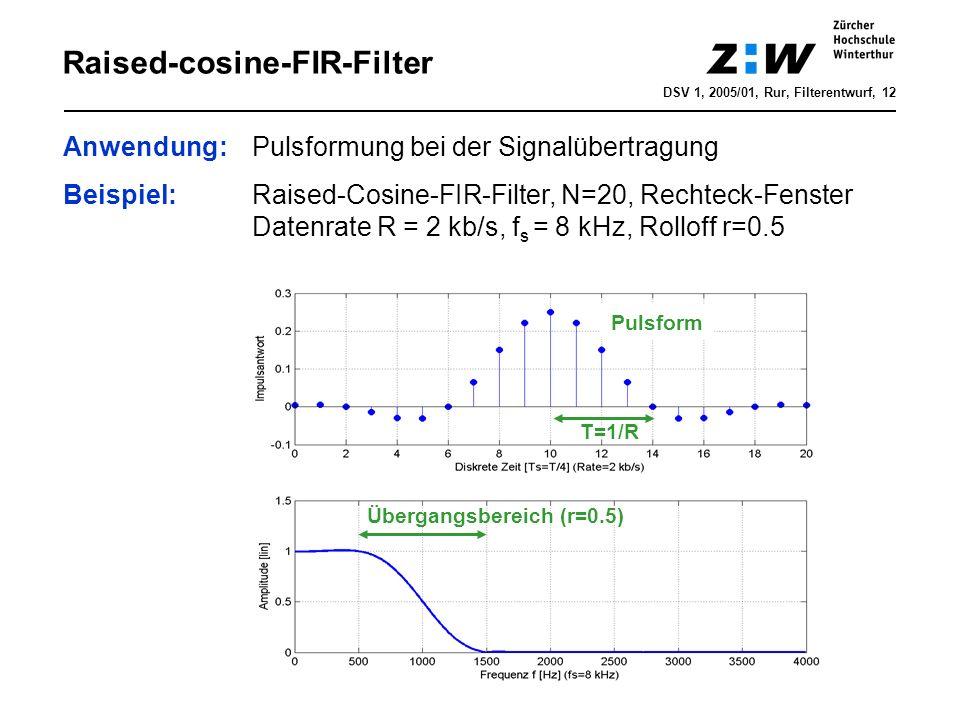 DSV 1, 2005/01, Rur, Filterentwurf, 12 Raised-cosine-FIR-Filter Anwendung: Pulsformung bei der Signalübertragung Beispiel: Raised-Cosine-FIR-Filter, N