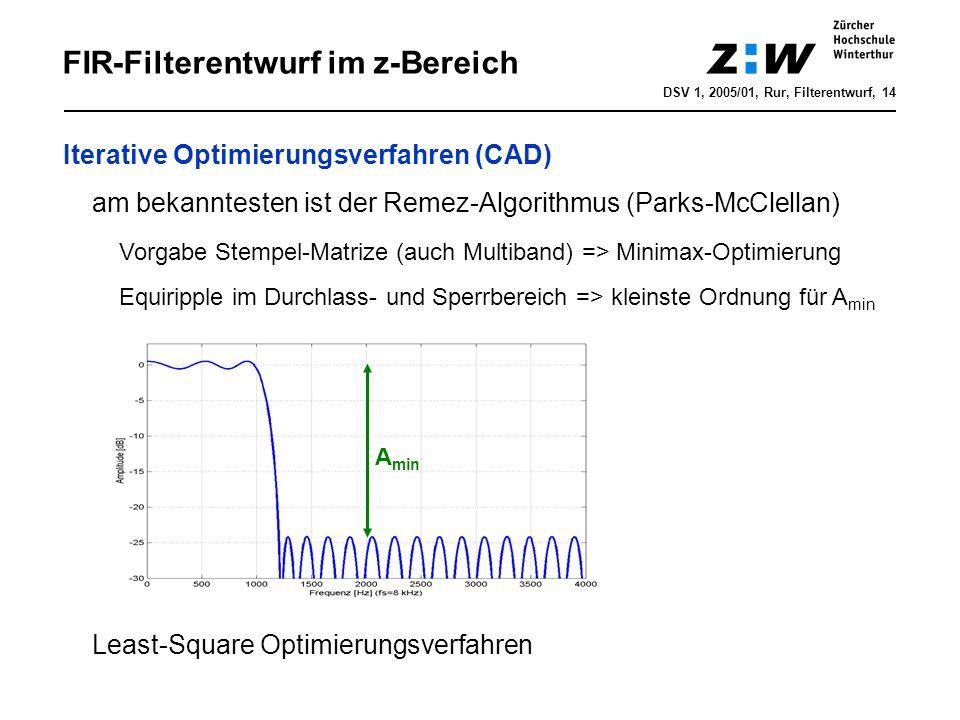 DSV 1, 2005/01, Rur, Filterentwurf, 14 FIR-Filterentwurf im z-Bereich Iterative Optimierungsverfahren (CAD) am bekanntesten ist der Remez-Algorithmus