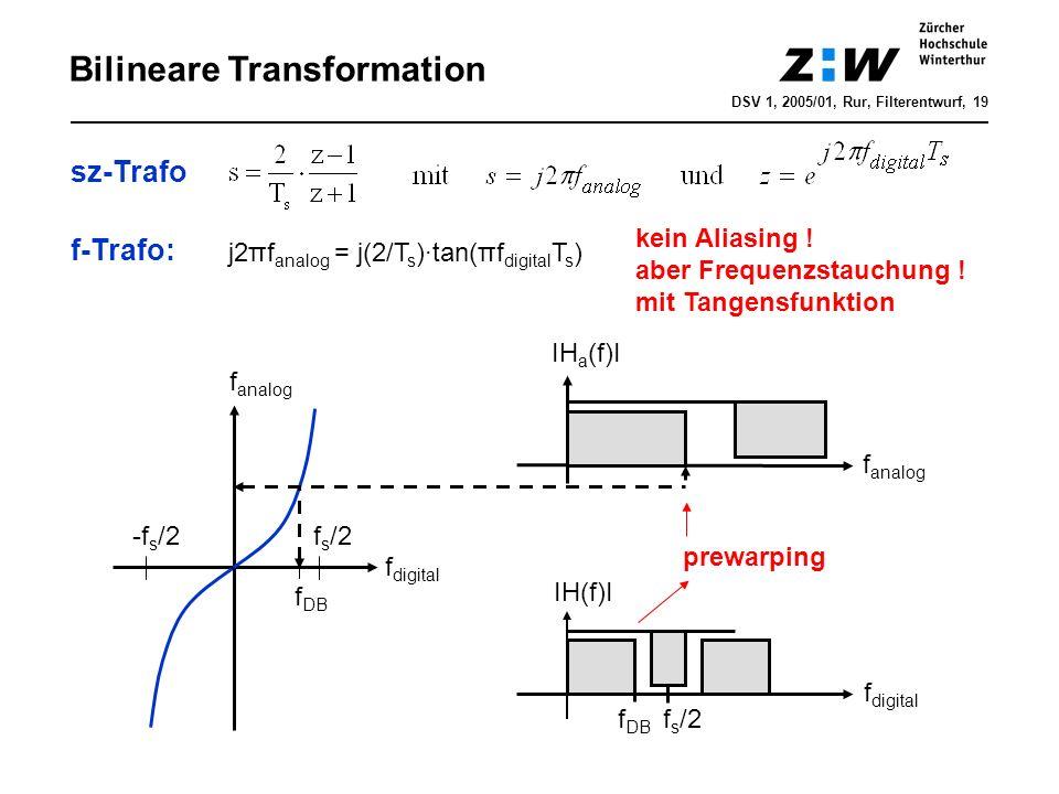 DSV 1, 2005/01, Rur, Filterentwurf, 19 Bilineare Transformation f s /2 f digital f analog -f s /2 f analog IH a (f)I f DB f digital IH(f)I f s /2 sz-T