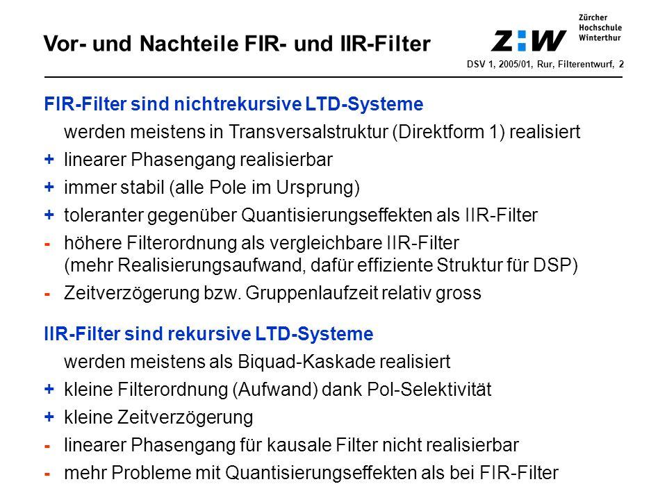 Filterspezifikation DSV 1, 2005/01, Rur, Filterentwurf, 3 A min, Rippel R s A max R p Durch- lass- bereich f DB f SB f s /2 Stempel-Matrizen-Schema Sperrbereich 1 dB Filterordnung (Aufwand) abhängig von Steilheit im Übergangsbereich