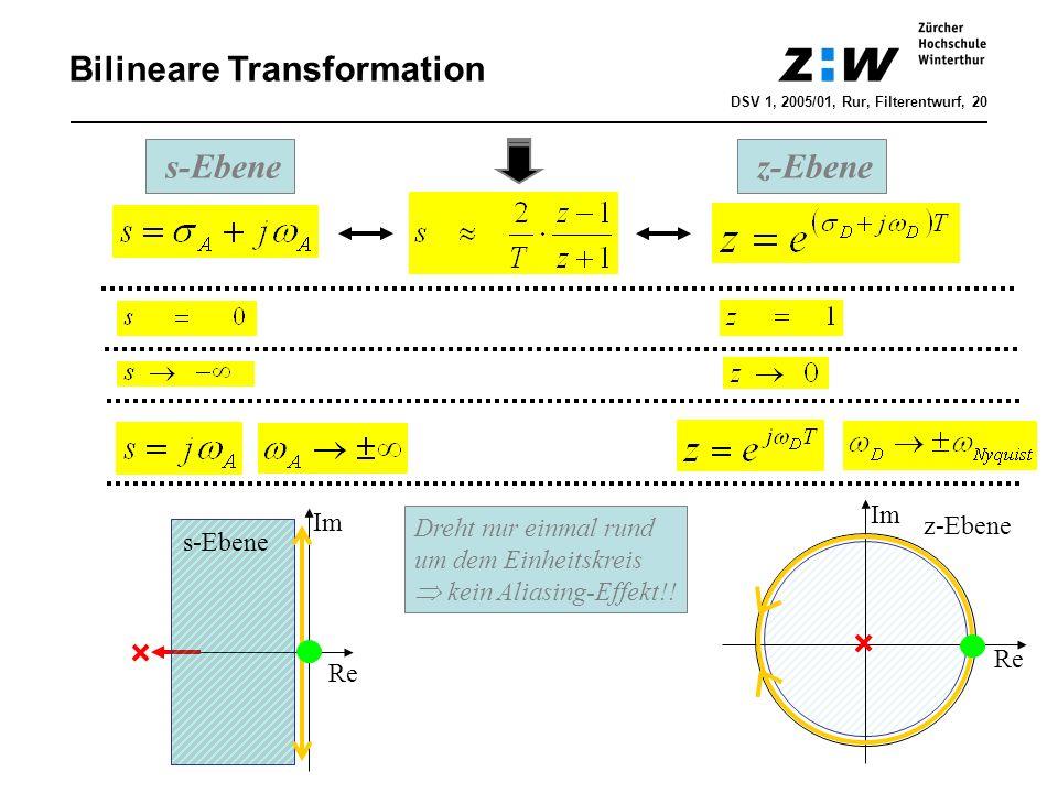 DSV 1, 2005/01, Rur, Filterentwurf, 20 Bilineare Transformation s-Ebene z-Ebene Dreht nur einmal rund um dem Einheitskreis kein Aliasing-Effekt!! Im R