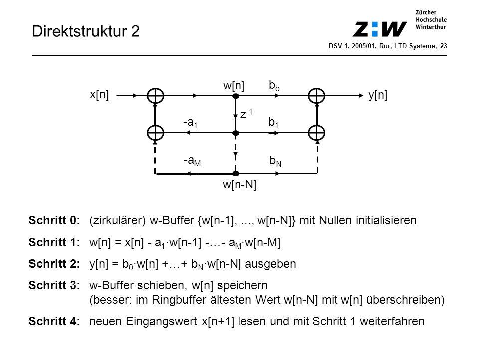 Direktstruktur 2 x[n] z -1 y[n] -a 1 -a M b1b1 bNbN bobo w[n-N] w[n] Schritt 0:(zirkulärer) w-Buffer {w[n-1],..., w[n-N]} mit Nullen initialisieren Sc