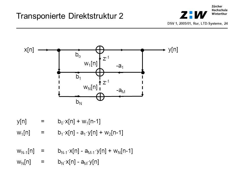 Transponierte Direktstruktur 2 bobo x[n] z -1 y[n] -a 1 -a M b1b1 z -1 w 1 [n] w N [n] y[n] = b 0 ·x[n] + w 1 [n-1] w 1 [n]=b 1 ·x[n] - a 1 ·y[n] + w