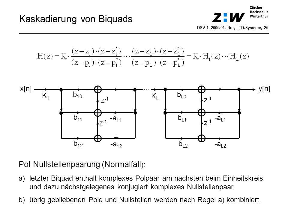 Kaskadierung von Biquads b 10 z -1 y[n] -a 11 -a 12 b 11 b 12 z -1 b L0 z -1 -a L1 -a L2 b L1 z -1... b L2 K1K1 x[n] Pol-Nullstellenpaarung (Normalfal