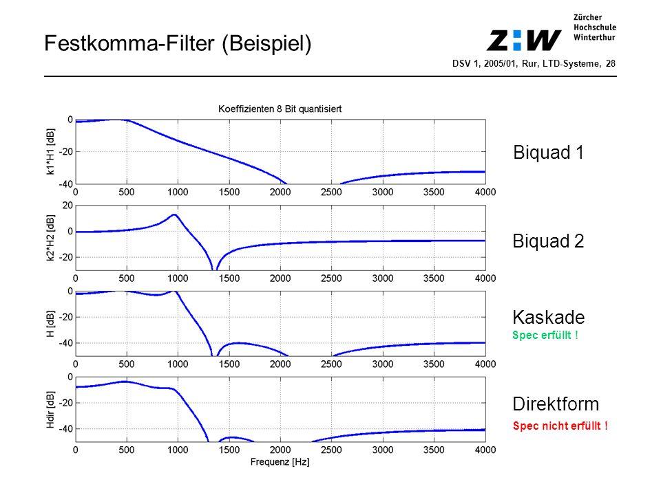 Festkomma-Filter (Beispiel) DSV 1, 2005/01, Rur, LTD-Systeme, 28 Biquad 1 Biquad 2 Kaskade Direktform Spec nicht erfüllt ! Spec erfüllt !