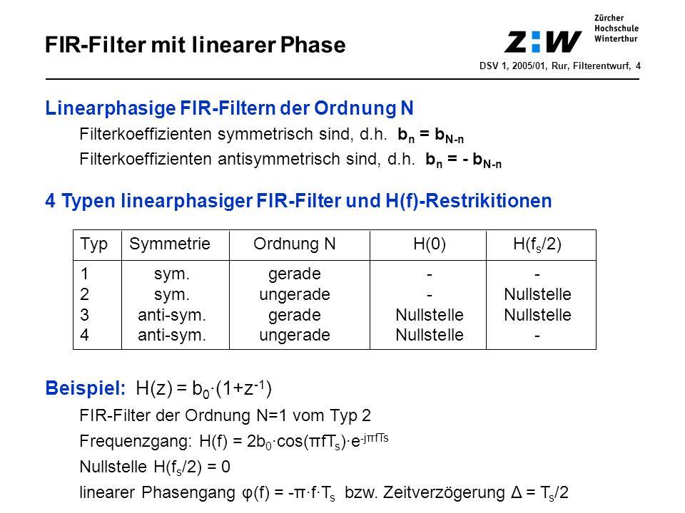 FIR-Filterentwurf mit Fenstermethode DSV 1, 2005/01, Rur, Filterentwurf, 5 Ziel: b n = h[n] so bestimmen, dass H(f) die Spezifikationen erfüllt Fenstermethode 1.Analoge Referenzstossantwort abtasten: h d [n] = T s ·h(t=nT s ) idealer TP: - < n < 2.relevanten Anteil ausschneiden: h c [n] = w[n]·h d [n] für -N/2 n N/2 Fenster w[n]: 3.FIR-Filter mit Zeitverschiebung kausal machen: h[n] = h c [n-N/2] Rechteck-Fenster Blackman-Fenster Hamming-Fenster Hanning-Fenster -N/2 0 N/2